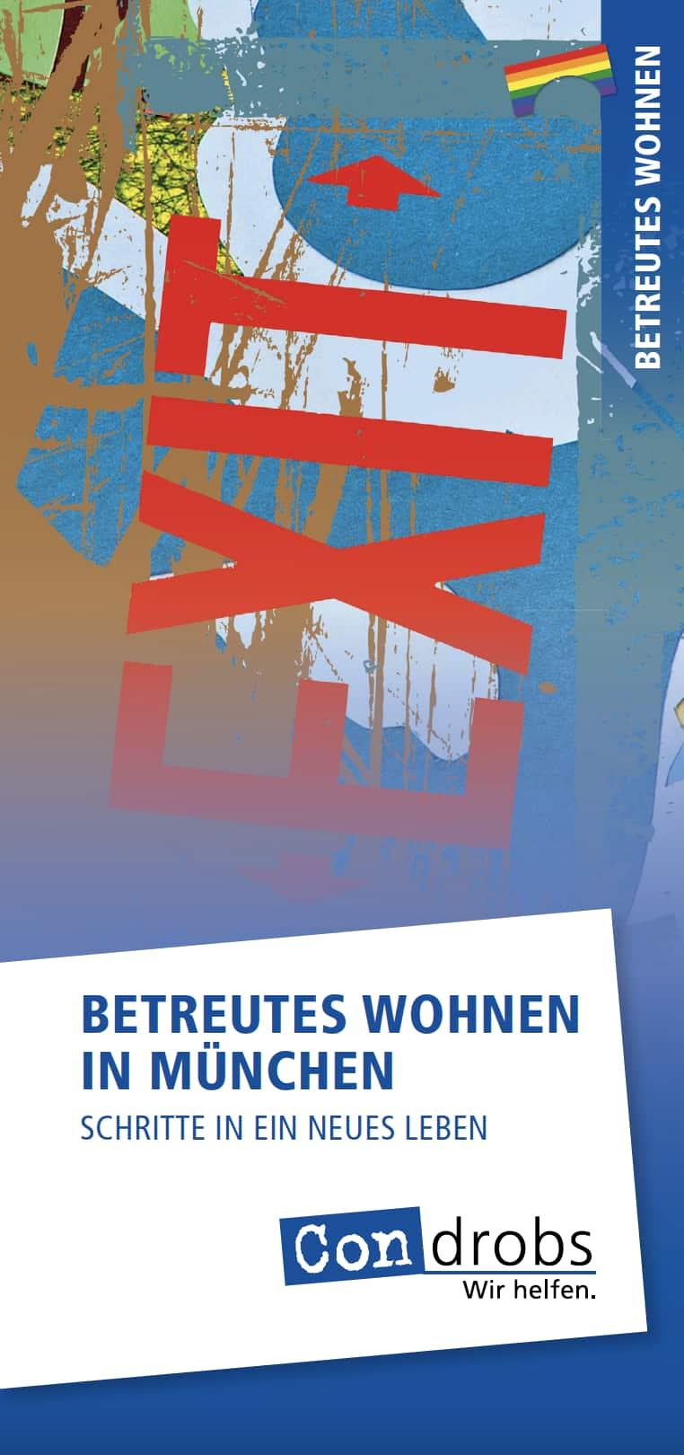 Condrobs-Flyer Fördermitgliedschaft. Eine Person auf einer Brücke und oben rechts eine Regenbogenfahne. Titel: Brücken ins Leben. Mit Ihrer Hilfe